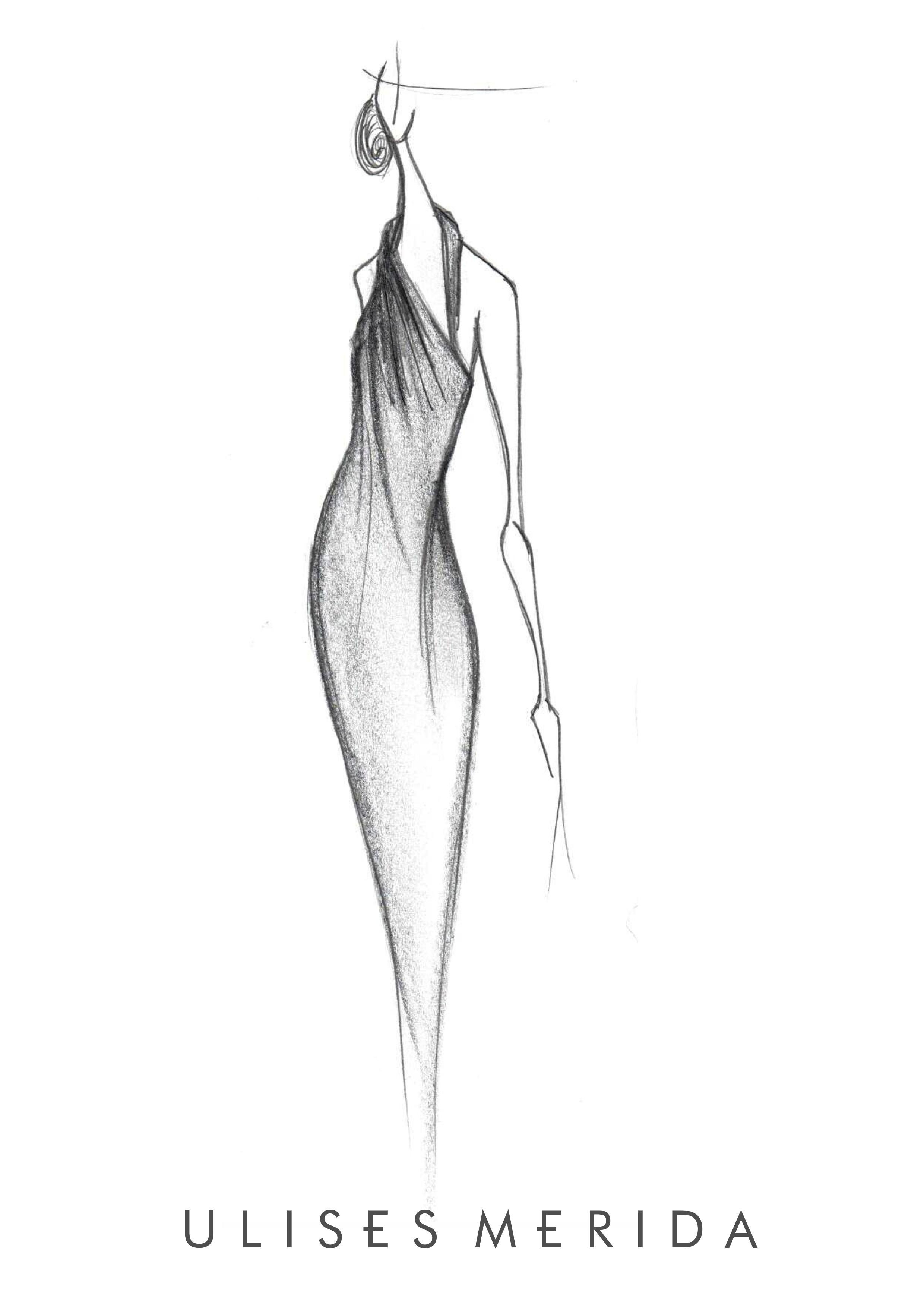 Boceto de Ulises Mérida del vestido que ha lucido Clara Lago