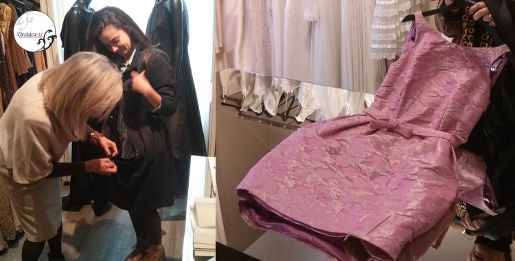 Vestidos de ceremonia y madrina en el Atelier. Incluso alguna de las alumnas se atrevió a probarse uno de los modelos más versátiles de la diseñadora