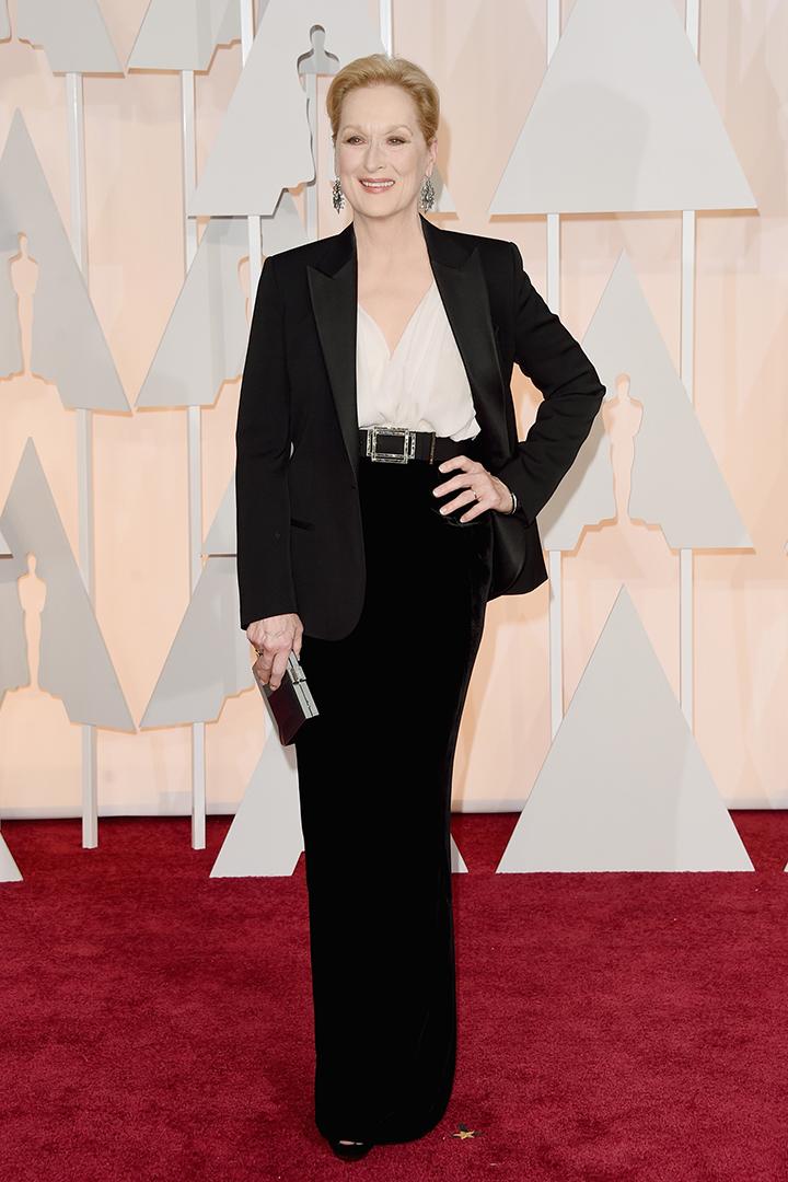 Meryl Streep de blanco y negro. Imagen de Getty Images y Cordon Press para Grazia