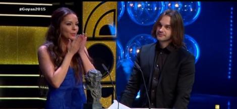 Carmen Veinat agradece el Goya desde el escenario