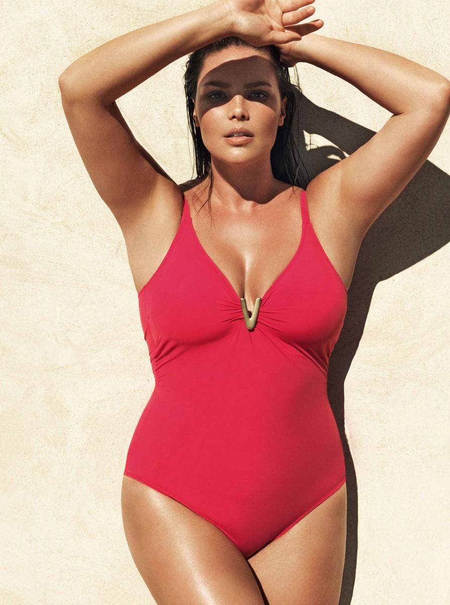 online nueva apariencia Promoción de ventas Bañador Violeta by Mango tallas grandes baño 2015 en Destaca ...