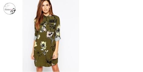 Vestido camisero con flores de Asos