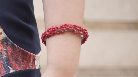 Paloma Silla pulsera rígida pidras rojas L'Art de les Ungles