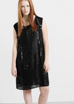 Cantidad limitada brillo de color gran calidad vestido lentejuelas negro Violeta by Mango tallas grandes ...