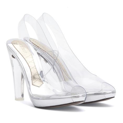 Silvie Magrit peep-toe destalonado zapato vinilo y metacrilato Paloma Silla Destaca-te