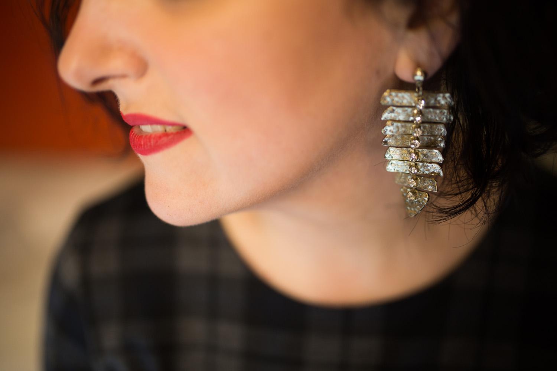 Outfit tallas grandes terciopelo cuadro escocés volante Paloma Silla Destaca-te