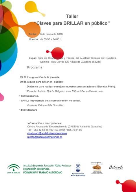 Programa taller para brillar CADE Alcalá de Guadaíra Junta de Andalucía Andalucía Emprende Paloma Silla Destaca-te imagen protocolo y comunicación no verbal marca personal